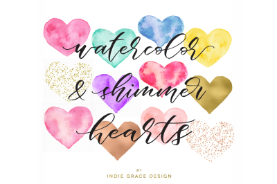 Watercolor, Gold Foil, Rose Gold & Confetti Heart Shapes, Watercolor heart forms