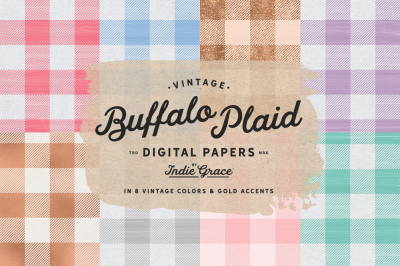 Vintage Buffalo Plaid Digital Papers - Buffalo Check Plaid - Soft Pastel Colors - Rose Gold textures