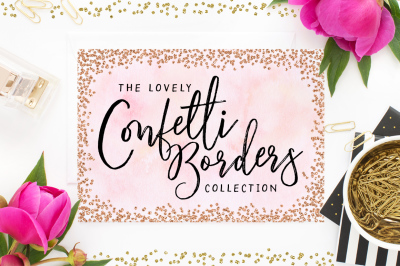 Confetti Borders & Frames Collection - Rose Gold Foil, Gold Foil, Silver foil - glitter borders - confetti textures - confetti overlays