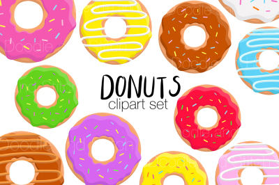 Donut Clipart Illustration Set