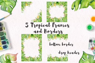 Tropical Frames and borders watercolor leaves jungle clipart