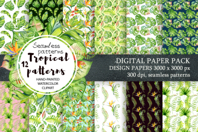 Tropical patterns Digital paper Seamless pattern Watercolor tropical leaves and flowers clipart.