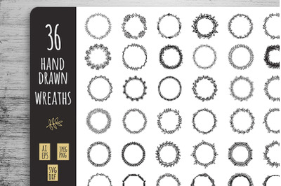 36 Wreaths Frame cliparts eps svg collection