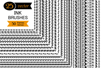 25 vector ink brushes.