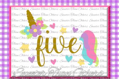 Fifth Birthday SVG, 5th Birthday Unicorn svg, girl Dxf Silhouette Studios, Cameo Cricut cut file INSTANT DOWNLOAD, Vinyl Design, Htv Scal Mtc