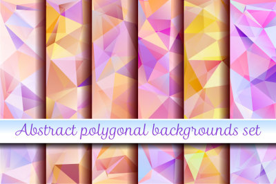 Abstract polygonal backgrounds set