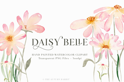 Daisy Belle Watercolor Floral Clipart