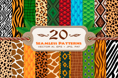 20 Animal Print Seamless Vector Patterns