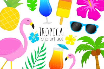 Tropical Summer Clipart Set