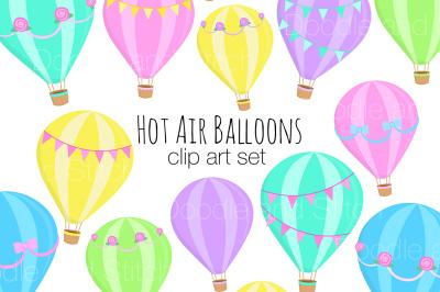 Hot Air Balloons Clipart Set
