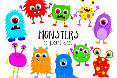 Cute Monsters Clipart Set