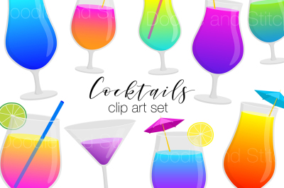 Cocktails Clipart Illustration Set