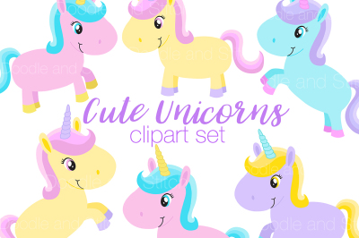 Cute Unicorn Clipart Set