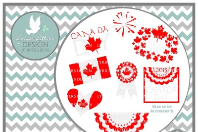 Canada Day Maple Leaf Flag Collection **ON SALE NOW**  LL049 Cut-File in SVG DXF EPS AI JPG PNG