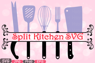 Split Kitchen SVG file Cutting files Cricut & Cameo Kitchen Utensils Silhouette SVG Cooking food stickers clipart tools Clip Art -571S