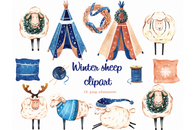 Winter sheep boho watercolor clipart