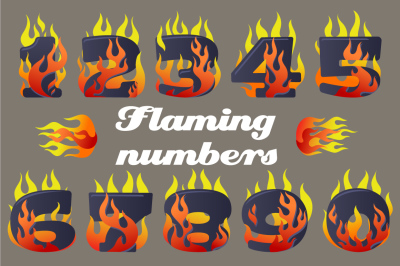 Vector icons set of Flaming Numbers