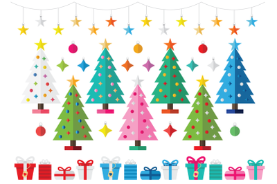 Colorful Christmas Tree Party Clip Art