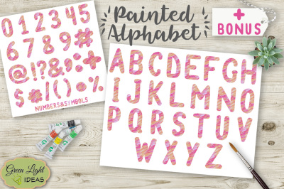 Pink And Orange Painted Alphabet Clipart
