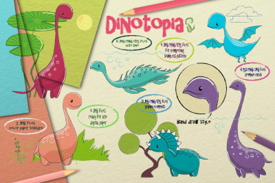 Huge Dinotopia Bundle. Lovely Dino. Dinosaurs Collection.