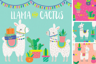 Llama and Cactus Clipart & Patterns