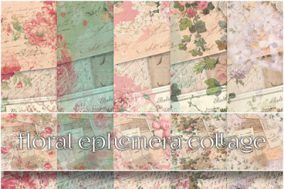 Vintage Ephemera & Floral Paper Backgrounds