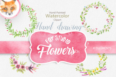 Watercolor wreath, watercolor border, hand painted clipart, flowers, wedding frame