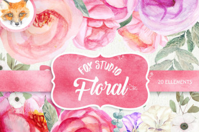 Peonies Watercolor Flowers Clipart. BOHO, Hand painted Watercolour floral, Wedding invitation, DIY elements, invite, greeting card