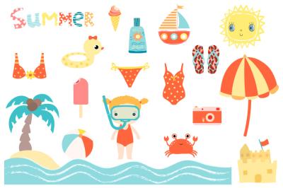 Cute summer clipart set, Beach holiday clip art, sun, snorkel girl, ice cream
