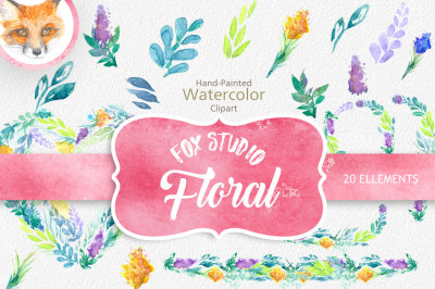 Watercolor Floral Wreath clipart, floral Clip art, Flowers Wreath Clipart, wedding flowers clip art, Watercolour Hand Painted Clip Art