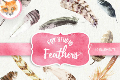 Feathers Watercolor Clipart. Hand painted, DIY elements, invite, Printable png, Boho style, Trendy Digital Image, TribalDigital Frame Clipart  Scrapbook  Images Craft Card Making Page Decoration Popular