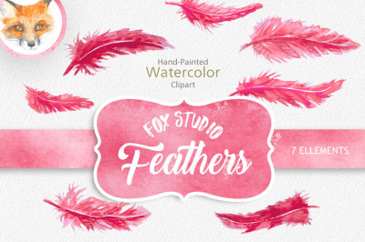 Feather Clipart, Digital Feathers, Feather Clip Art,  Pink Feather Clipart