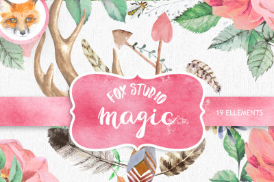 Watercolor Clip Art Antlers, Stag horns, Arrows, Feathers, Flowers Hand Drawn, Boho style, transparent, digital png