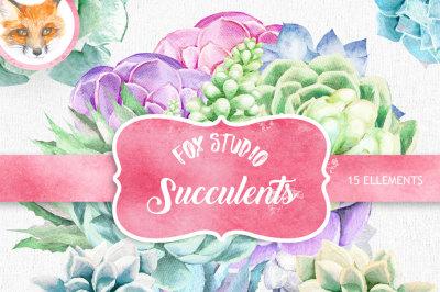Watercolour Succulent clipart, wedding clip art, flower elements, digital watercolor, Wedding flowers, boho flowers, invitation clip art