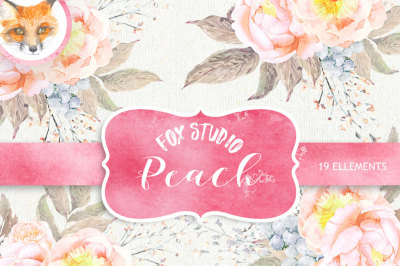 Wedding Watercolor Wreaths & Bouquets, Peach Peonies, Roses Flowers, Feathers, Hand painted clipart, floral invitations, greeting card