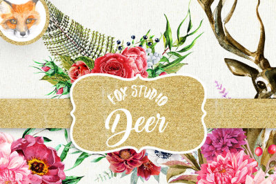 Floral Deer wreath crown clipart, Woodland watercolor clipart PNG