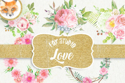 Watercolor wedding flowers (bride, spring, pink, clipart, love, save the date, valentine day, botanical, floral, background, rose