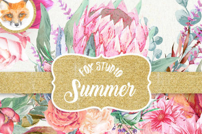 Watercolor clipart Summer  Hand painted watercolor pink and purple flowers and weeping floral arranements for instant download