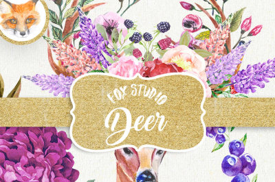 Deer Watercolor Clipart, Antlers Clipart, Floral Deer, Rustic Wedding Invitation, Boho Floral Clipart, Floral Crown Bouquets, Pink