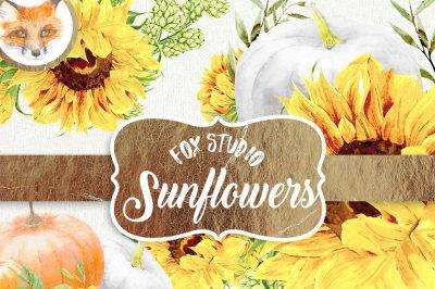 Helloween Sunflowers. Watercolor clipart, sunflowers, sunbeams, wedding, greeting card, diy, country, flowers, sunny, rustic, boho, pumpkin