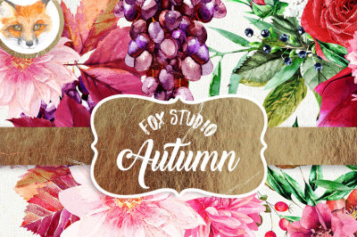 Watercolor Clipart Autumn Bliss - Autumn color roses, daisies, flowers, berries and decorative elements for instant download