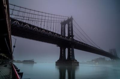 Manhattan bridge on a foggy morning