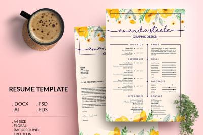 Floral Resume Template / CV Template/ Letterhead/ N
