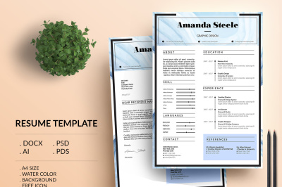 Water color Resume Template / CV Template/ Letterhead/ N