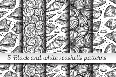 5 black and white sea shells pattern