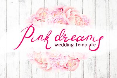 Watercolor wedding set - PINK DREAMS