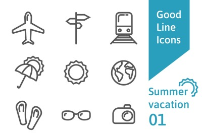 Summer vacation outline icons set 01