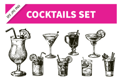 Hand Drawn Sketch Cocktails Vector Set