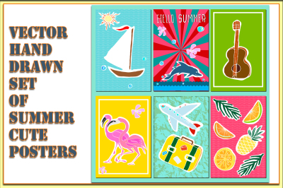 Vector handdrawn set of summer cards