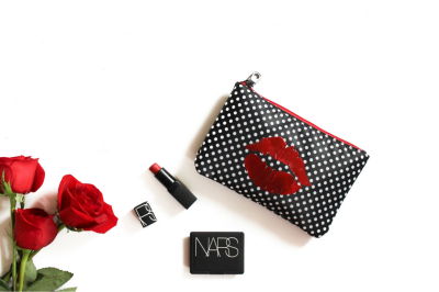 Fashionista Red Lips + Red Roses Flatlay